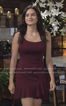Lola's burgundy ruffle hem mini dress on The Young and the Restless