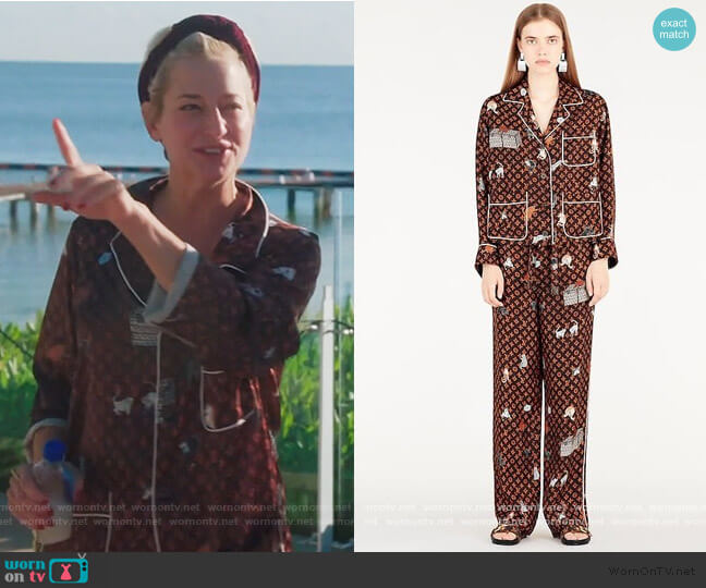 Catogram Print Pajamas by Louis Vuitton worn by Dorinda Medley  on The Real Housewives of New York City