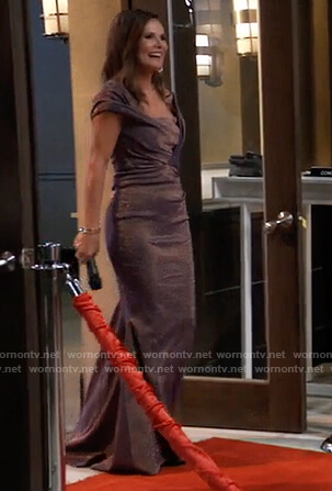 Lucy's purple metallic off shoulder Nurse's ball gown on General Hospital