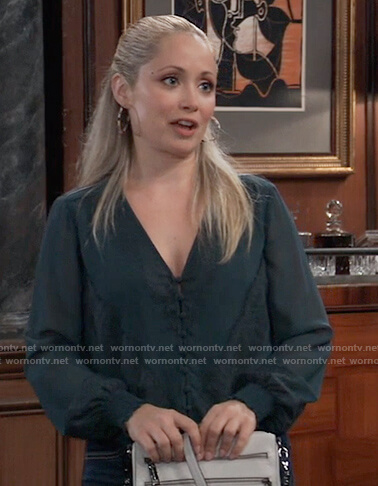 Lulu's green tie front top on General Hospital