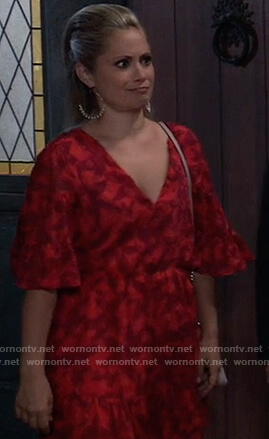 Lulu's red floral ruffle dress on General Hospital