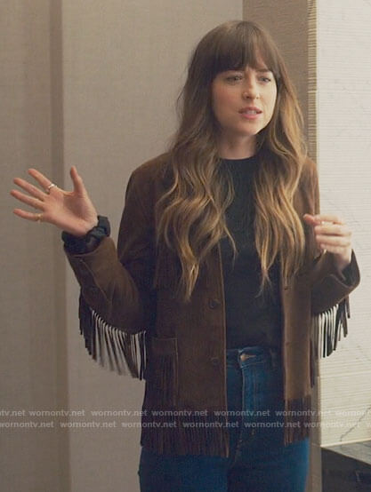 Maggie's brown fringed jacket on The High Note