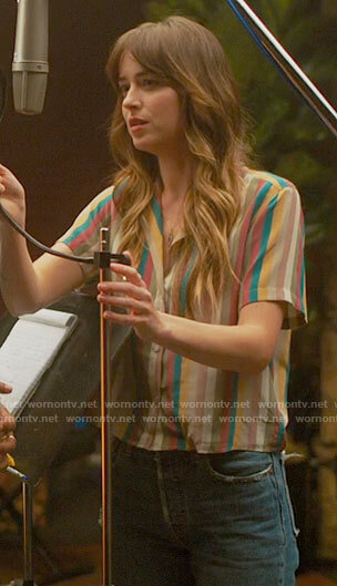 Maggie's multi colored striped shirt on The High Note