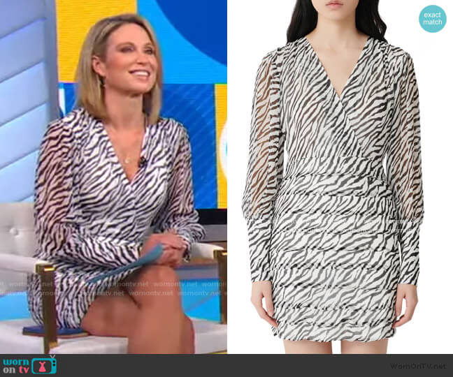 Ribane Zebra Print Long Sleeve Minidress by Maje worn by Amy Robach  on Good Morning America