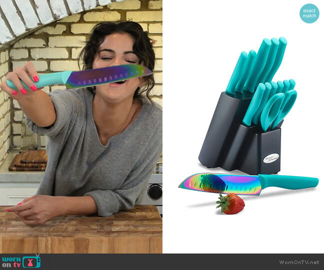 Marco Almond Turquoise Rainbow Titanium Cutlery Knife Set worn by Selena Gomez  on Selena + Chef
