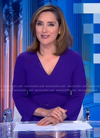 Margaret Brennan's purple v-neck belted dress on CBS Evening News