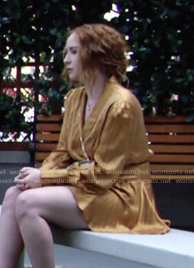 Mariah's yellow satin wrap mini dress on The Young and the Restless