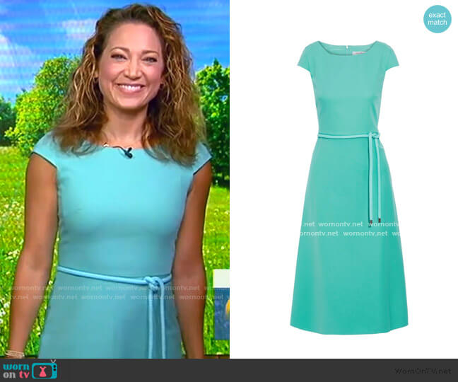 Opunzia Belted Cotton-Cady Dress by Max Mara worn by Ginger Zee  on Good Morning America