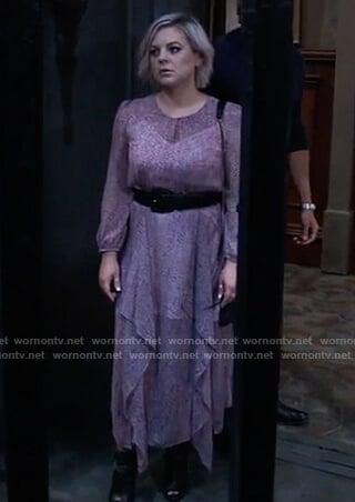 Maxie pink leopard ruffle dress on General Hospital