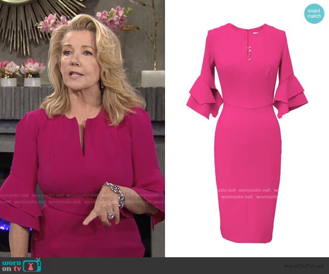 Susan Dress Pink Crepe by by Mellaris worn by Nikki Reed Newman (Melody Thomas-Scott) on The Young & the Restless