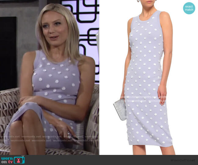 Floral-Appliqued Stretch-Knit Dress by MICHAEL Michael Kors worn by Abby Newman (Melissa Ordway) on The Young & the Restless