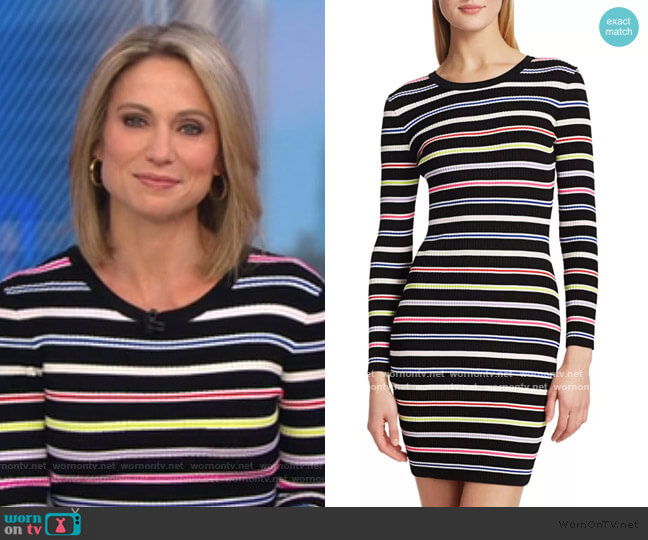 Multi-Stripe Knit Bodycon Dress by Milly worn by Amy Robach  on Good Morning America