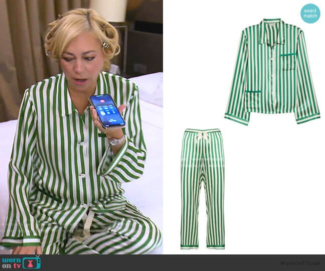 Ruthie Silk Stripe Pajama Top and Chantal trousers by Morgan Lane worn by Sutton Stracke  on The Real Housewives of Beverly Hills