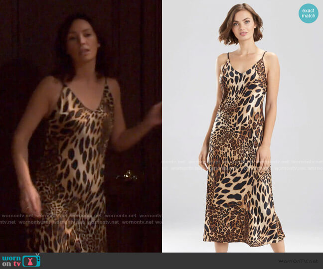 Luxe Leopard Gown by Natori worn by Gwen Rizczech (Emily O'Brien) on Days of our Lives