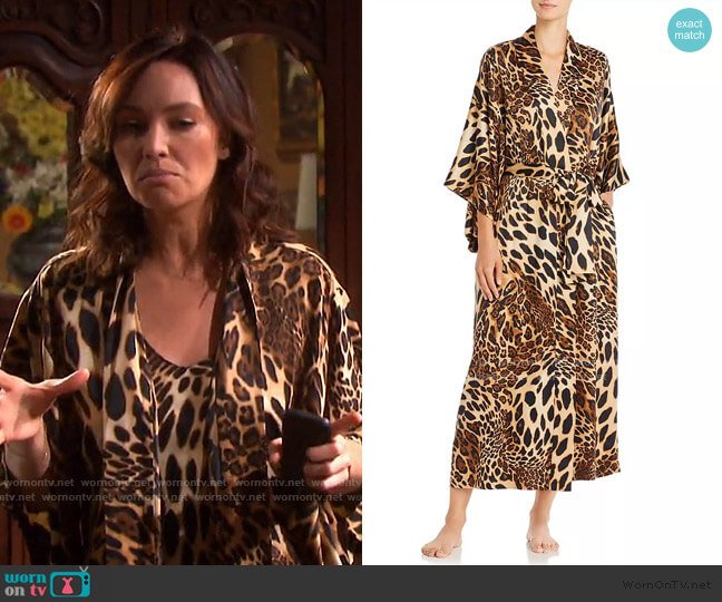 Long Leopard-Print Satin Robe by Natori worn by Gwen Rizczech (Emily O'Brien) on Days of our Lives