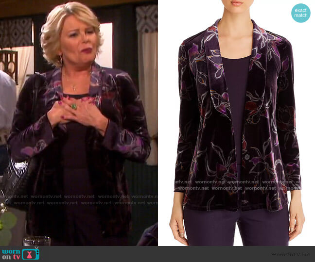 Floral-Print Velvet Jacket by Nic and Zoe worn by Bonnie Lockhart (Judi Evans) on Days of our Lives