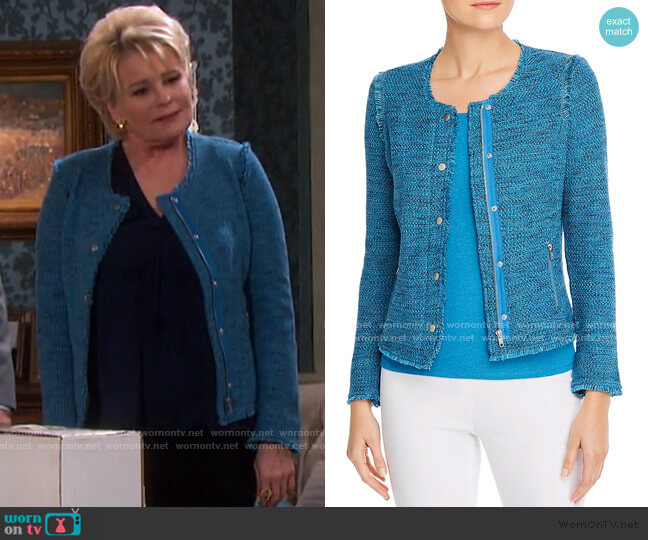 Fringe-Trimmed Marled Knit Sweater Jacket by Nic And Zoe worn by Bonnie Lockhart (Judi Evans) on Days of our Lives
