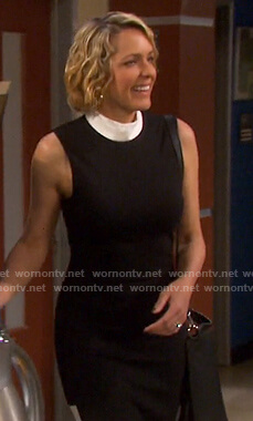 Nicole's black contrast trim mock neck dress on Days of our Lives