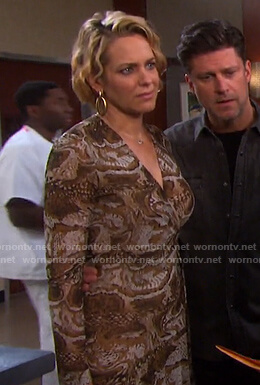 Nicole's snake print wrap dress on Days of our Lives