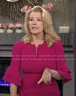 Nikki's pink bell sleeve dress on The Young and the Restless