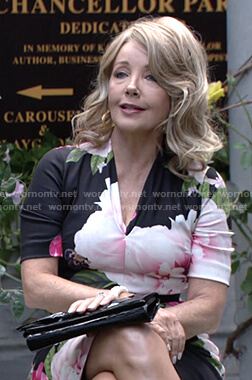 Nikki's black floral v-neck dress on The Young and the Restless