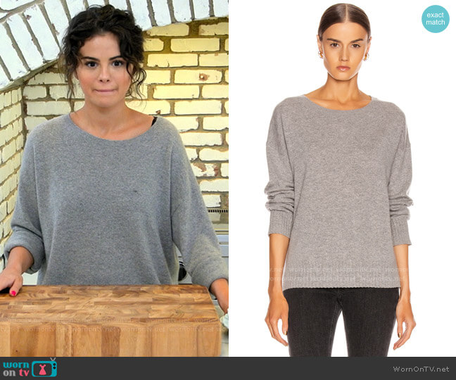 Nili Lotan Boyfriend Cashmere Sweater worn by Selena Gomez  on Selena + Chef