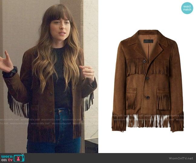 Nili Lotan Frida fringed suede jacket  worn by Maggie Sherwoode (Dakota Johnson) on The High Note