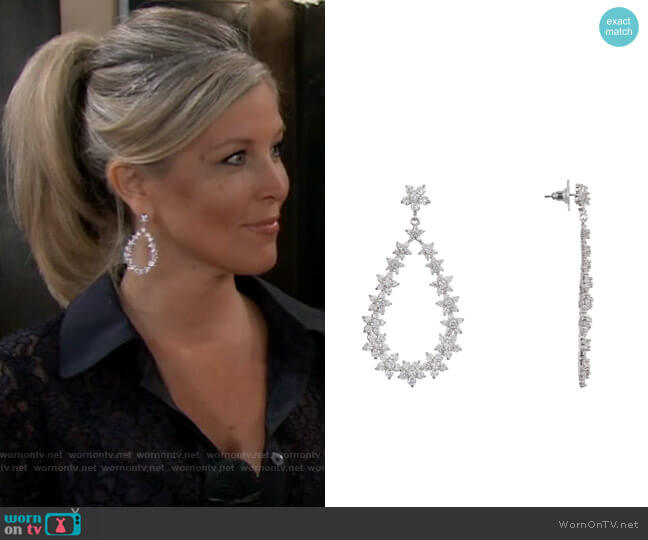 Nina Floral Open Teardrop Earrings worn by Carly Corinthos (Laura Wright) on General Hospital