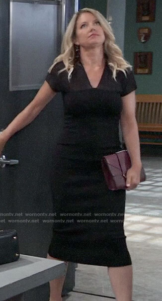 Nina's black mesh panel sheath dress on General Hospital