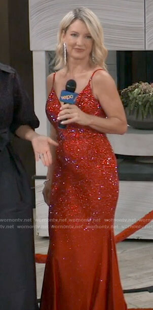 Nina's red embellished Nurse's ball gown on General Hospital