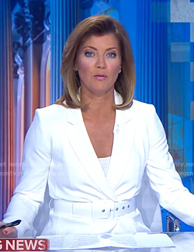 Norah's white belted blazer on CBS Evening News