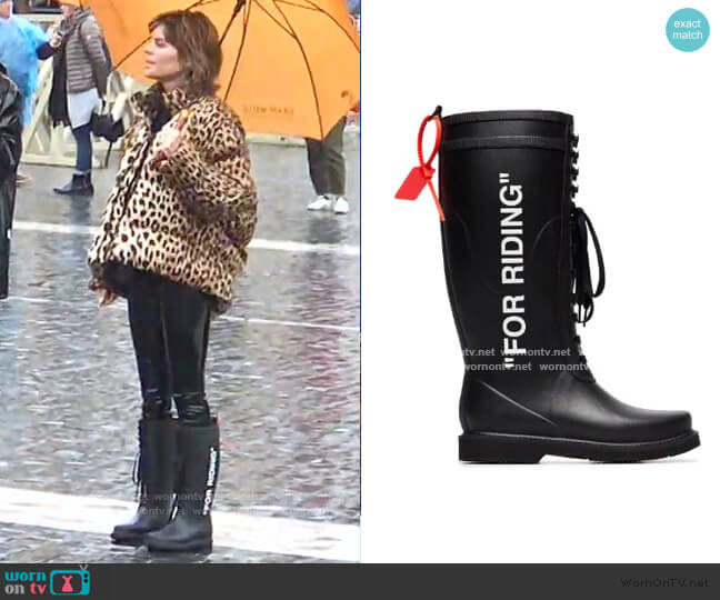 For Riding Wellington Boots by Off-White worn by Lisa Rinna  on The Real Housewives of Beverly Hills