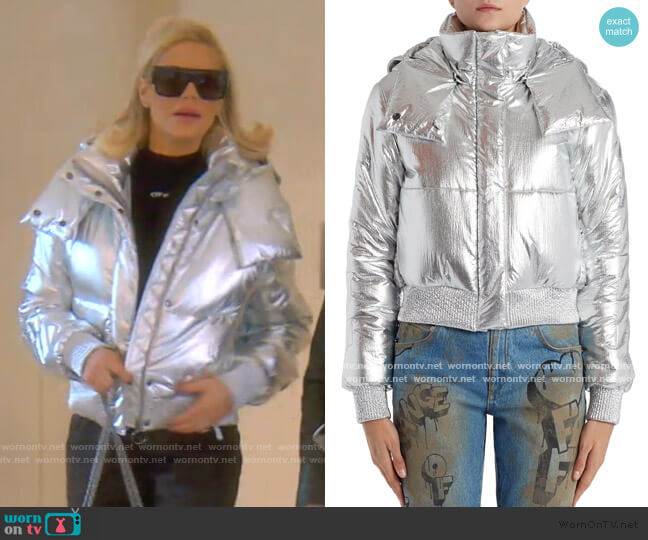 Logo Metallic Puffer Jacket by Off-White worn by Dorit Kemsley  on The Real Housewives of Beverly Hills