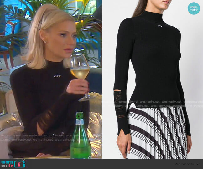 Laddered Ribbed Mock Neck Top by Off-White worn by Dorit Kemsley  on The Real Housewives of Beverly Hills