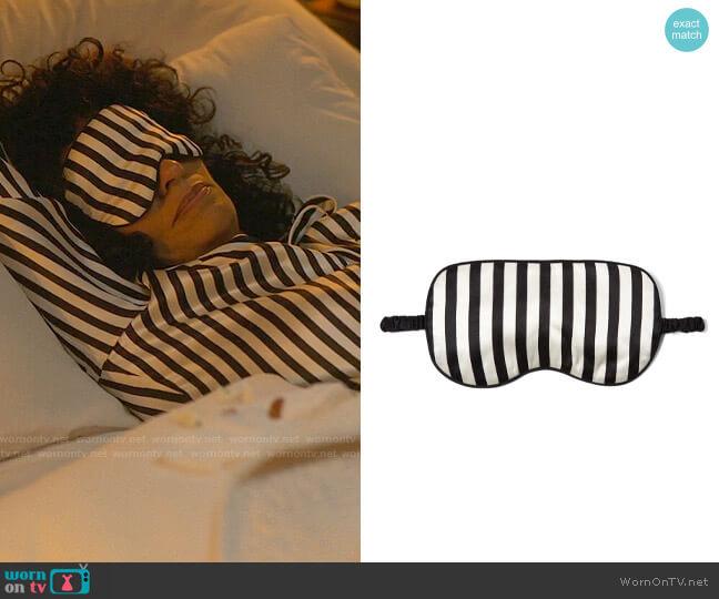 Olivia von Halle Nika Striped Sleep Mask worn by Grace Davis (Tracee Ellis Ross) on The High Note