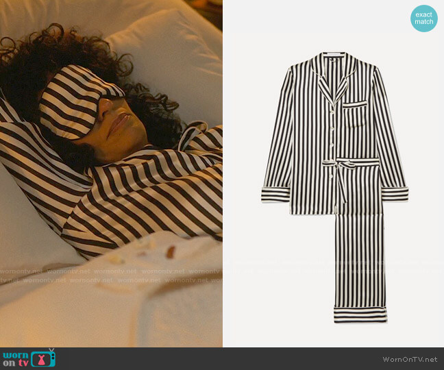 Olivia von Halle Lila Striped Pajamas worn by Grace Davis (Tracee Ellis Ross) on The High Note