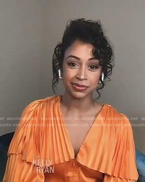 Liza Koshy's orange pleated top on Live with Kelly and Ryan