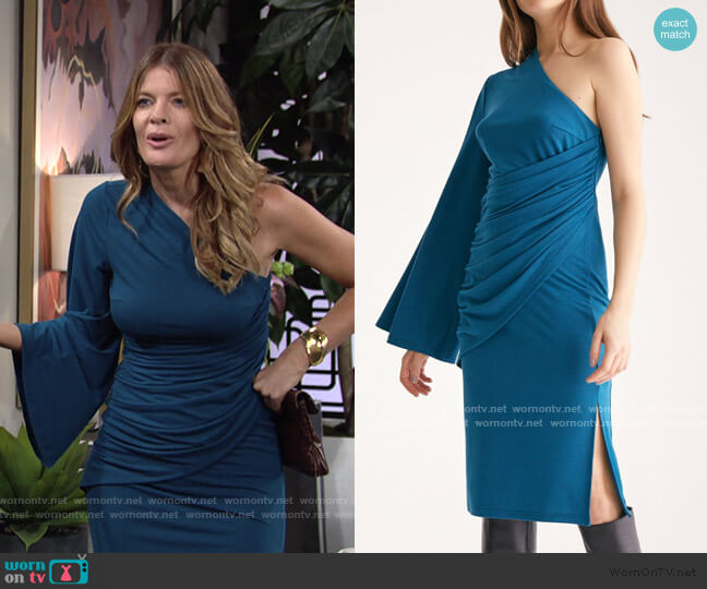 Draped One Shoulder Dress With Ruched Waist & Side Split by Paisie worn by Phyllis Summers (Michelle Stafford) on The Young & the Restless