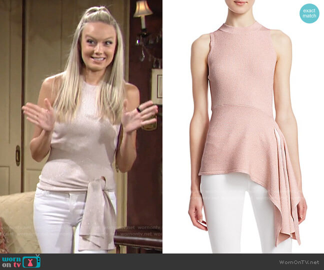 3.1 Phillip Lim Metallic Ribbed Knit Peplum Top worn by Abby Newman (Melissa Ordway) on The Young & the Restless