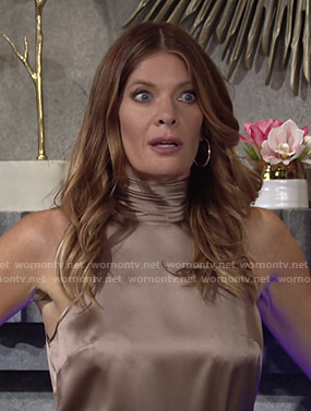 Phyllis's beige satin mock neck sleeveless top on The Young and the Restless