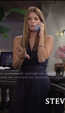 Phyllis's black belted sleeveless dress on The Young and the Restless