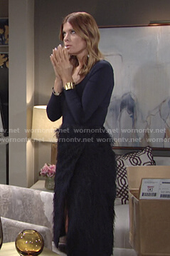 Phyllis's navy feather wrap skirt on The Young and the Restless