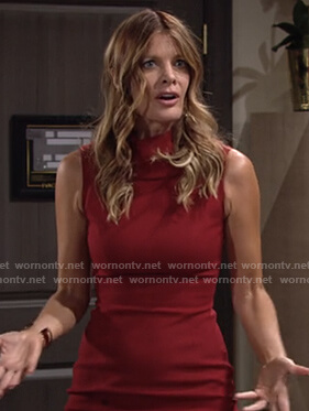 Phyllis's red sleeveless sheath dress on The Young and the Restless