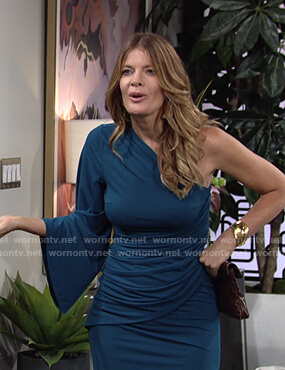 Phyllis's teal one-shoulder gathered dress on The Young and the Restless