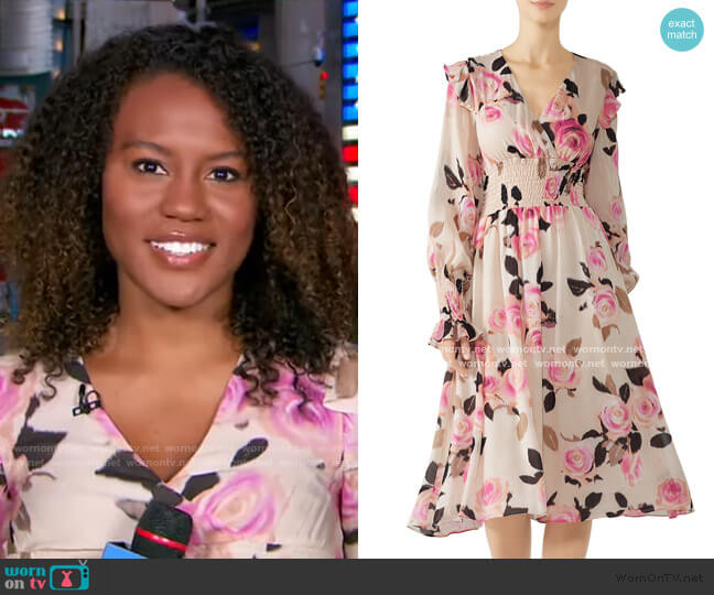Blooms Smocked Dress by Pinko worn by Janai Norman  on Good Morning America