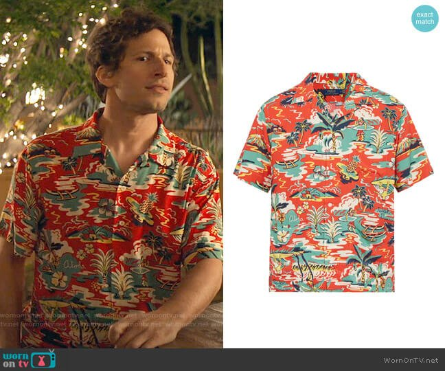 Polo Ralph Lauren Hawaiian-print short-sleeved shirt worn by Nyles (Andy Samberg) on Palm Springs (2020)