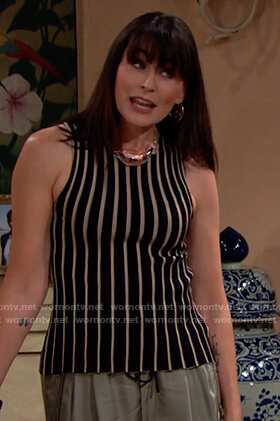 Quinn's black stripe sleeveless top on The Bold and the Beautiful