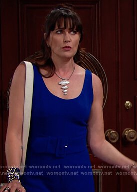 Quinn's blue belted jumpsuit on The Bold and the Beautiful