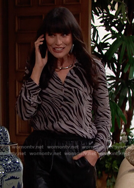 Quinn's gray zebra stripe blouse on The Bold and the Beautiful