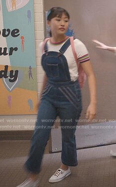 Rachelle's rainbow striped trim top and overalls on Trinkets